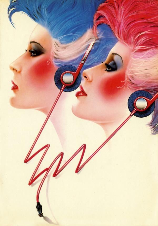 80s beauties rockin' the headphones. Love the hair especially. This would make a totally rad invitation for an '80s theme party...