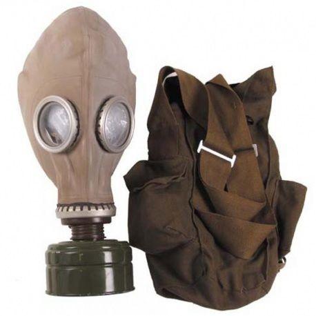 Masque à gaz russe avec filtre et sac de transport.