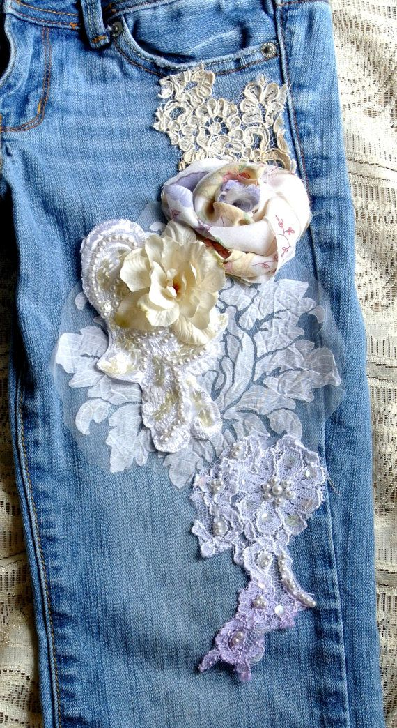 SALE embellished jeans, Boho lace jeans, romantic clothes, Custom Made for Maura, size 4    Custom made for Maura