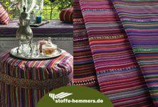 """stoffe-hemmers: Feiner Jacquard mit wunderschönen Streifen in tollen orientalischen Farben. Durch die Webart ist er von beiden Seiten """"schön"""" und einsetzbar. Die neue Raumdeko (Kissen, Gardinen, Vorhänge) aber auch Taschen und Sitzmöbel sind hieraus machbar. #home #deko #nähen #nähenisttoll #orient #ethno #nähenfürmich #stoffehemmers"""