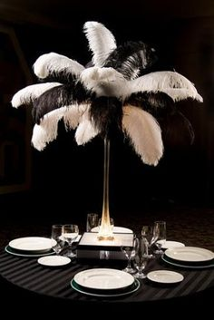 roaring 20's decorations - feathered centerpiece