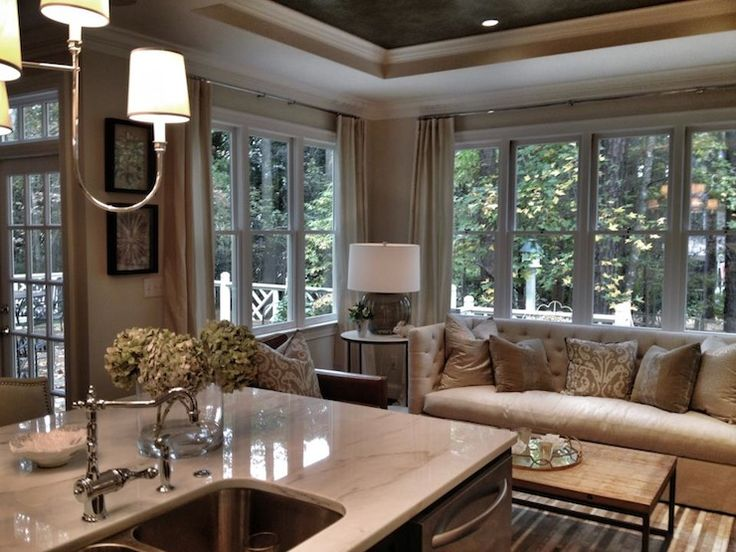 Heather Garrett Design: Stunning kitchen opens to family room.  Marble kitchen island with dual sinks stainless ...