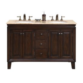 Silkroad Exclusive Jessica Dark Walnut Undermount Double Sink Bathroom Vanity with Travertine Top (Common: 55-in x 22-in; Actual: 54.875-in x 22-in)