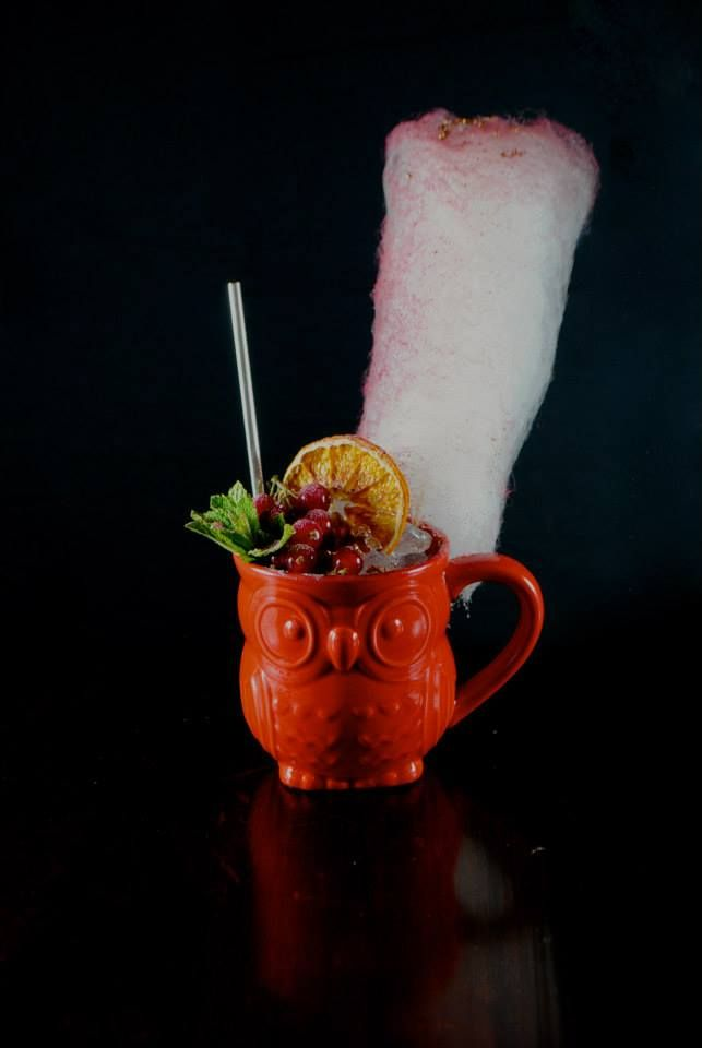 Tu-Whit Tu-Whoo Woo - vodka, peach liqueur, cranberry & herb reduction, 360° view. For the night owls! xx
