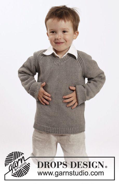 Funny Phil / DROPS Children 26-9 - Gebreide DROPS trui met raglan en V-hals van Belle. Maat 2-10 jaar