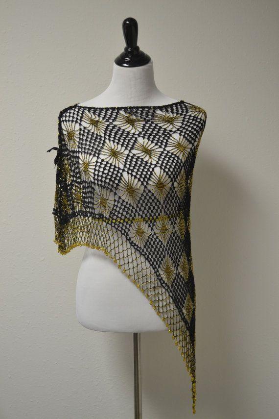 Crochet Beaded Shawl by LedbellyVintage on Etsy, $26.00