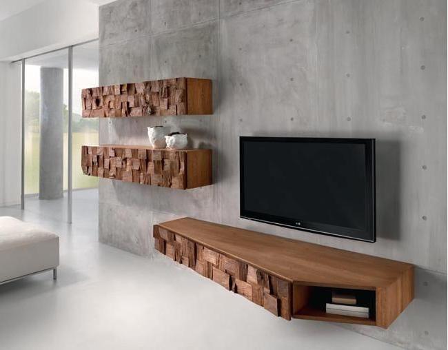 Interior Rustic Furnitures Concrete Wall Decor Mounted Wall Tv Three Oak  Wood Block Cabinet Sleek White