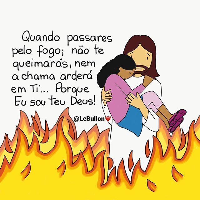 """""""Não temas, porque Eu te remi; chamei-te pelo teu nome, tu és meu... Quando passares pelo fogo, não te queimarás, nem a chama arderá em ti. Porque Eu sou o Senhor teu Deus, o Santo de Israel, o teu Salvador. """" Isaías 43:1-3 🙏🏼🔥 #copyright #marqueseusamigos #iluminaromundo #vidacristã #guiamesenhor #jesusteama #vivoparacristo #amor #serviracristo #desenhododia #ilustrador #igscomproposito #LeBullon"""