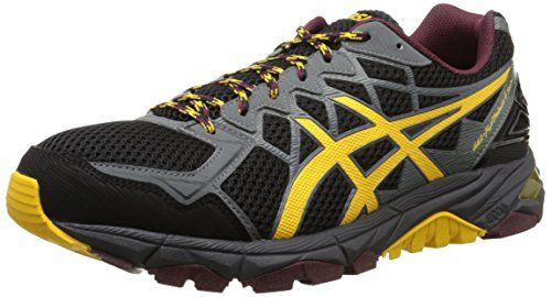 ASICS Mens Gel Fuji Trabuco 4 Neutral Running Shoe BlackSpectra YellowRoyal Burgundy 75 M US >>> Read more reviews of the product by visiting the link on the image.