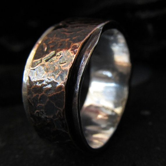 Mens wedding band textured copper silver made to by HcsMetalsmiths, £136.00