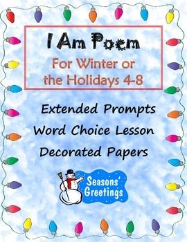 "An I AM poem with a TWIST! Prompts have been added to the line starters to encourage full statements using descriptive details and strong adjectives.  For example, ""I am __ because__ (strong adjective describing how you feel about your topic and a specific reason). 4-8 $"