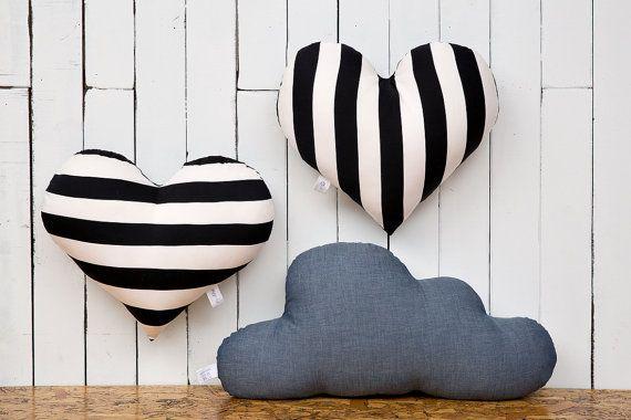 Black and white pillow Heart cushion stripes pillow teen