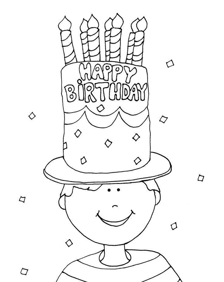 Birthday Cake Hat Boy FREE Digi