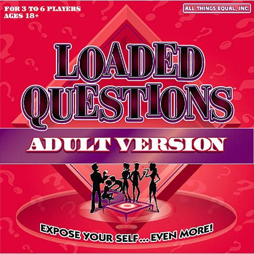 The Adult Version Loaded Questions Board Game tests general sex IQ and asks funny personal questions. Players advance around the board by rolling the dice, then choosing a question card based on the category they land on. The other players then write down answers to the question. The person whose turn it is must then guess who submitted which answer.  $29.99  http://www.calendars.com/Adult-Games/Loaded-Questions-Adult-Board-Game/prod1149026/?categoryId=cat430012=cat430012#
