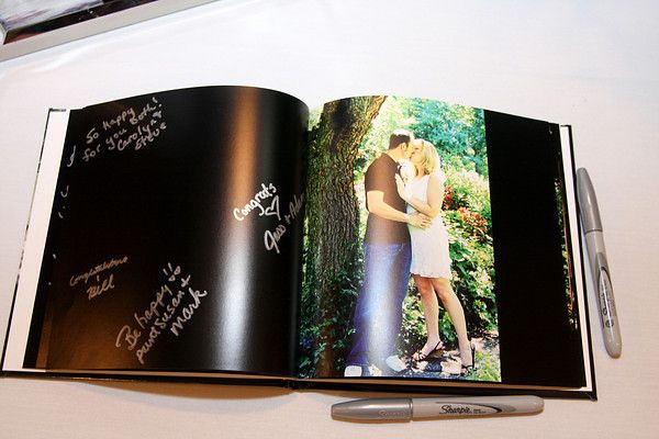 they took the engagement photos and made a book and left pages for people to sign