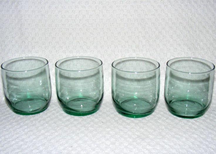 Green Glass Water Tumbler, Versatile Glassware, Set of 4 ...