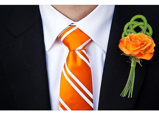 Orange Rose with Mizuhiki Cord Boutonniere