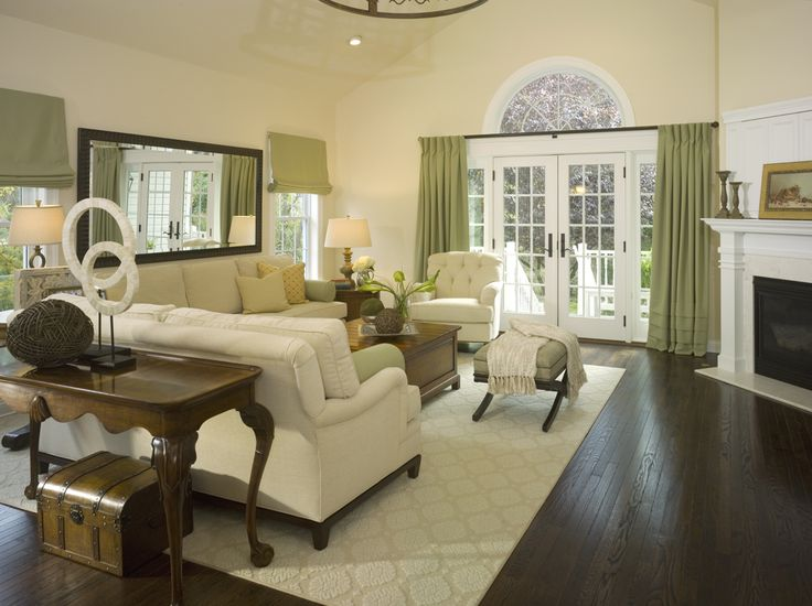 Living Room: Nice Contrast Of Dark Wood Floors U0026 Furniture, White Wood Trim,