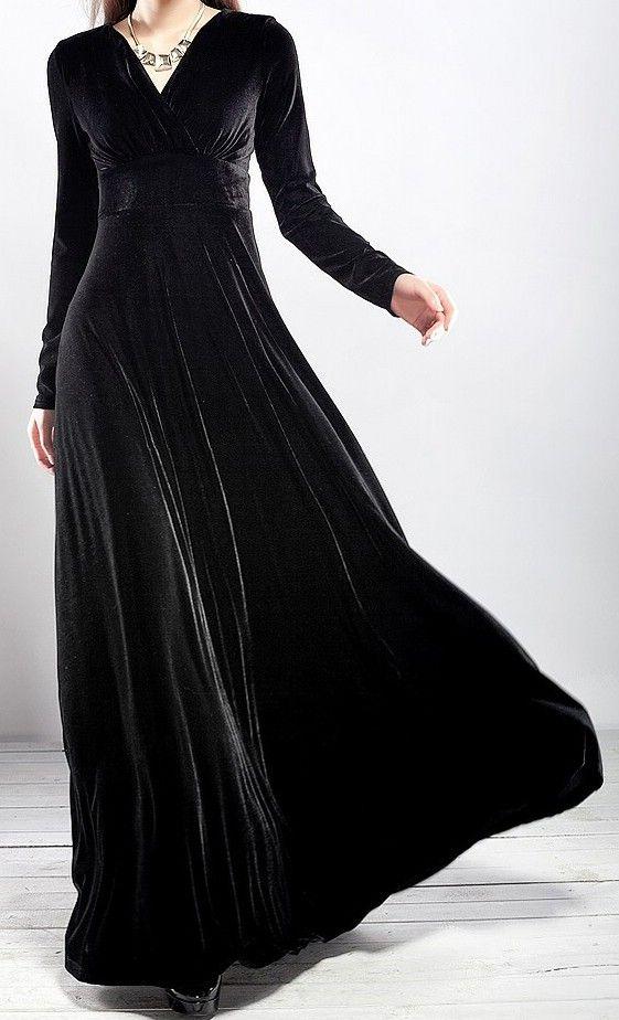 Goth Steampunk Vintage Black Velvet Gown Holiday Dress - Dresses | RebelsMarket