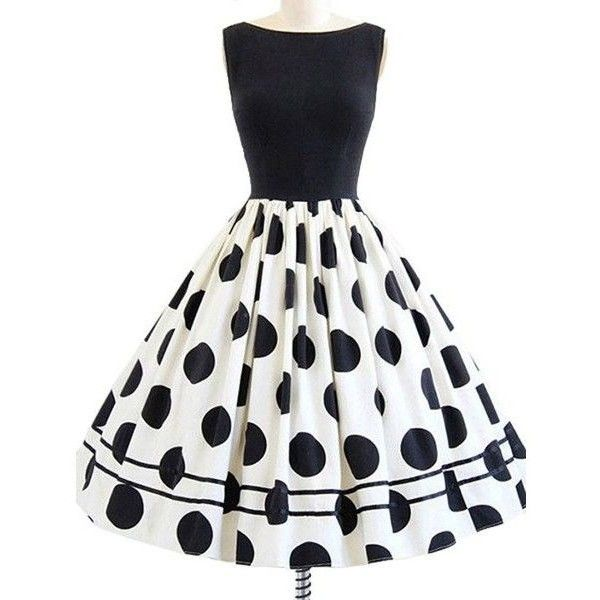 Dressray Women's Rockabilly 50s Vintage Polka Dots Cocktail Dress ❤ liked on Polyvore featuring dresses, polka dot dresses, white dresses, spotted dress, vintage rockabilly dresses and white polka dot dress