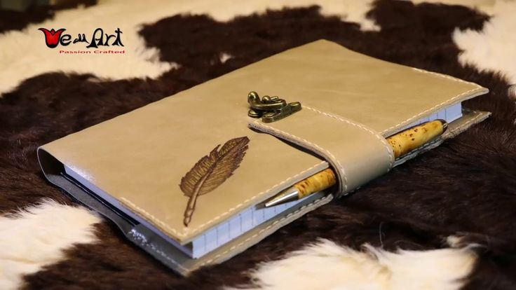 Beige Genuine Leather Diary with Burnt in Feather
