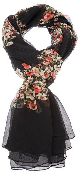 Dolce & Gabbana Black Floral Print Silk Scarf NWT Retail: $645.00