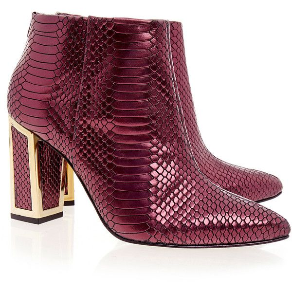 Kat Maconie Stella Metallic Burgandy Ankle Boots ($115) ❤ liked on Polyvore featuring shoes, boots, ankle booties, burgundy, kat maconie, metallic bootie, ankle bootie boots, leather heel boots and metallic ankle boots