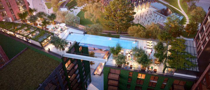 В Лондоне анонсирован план строительства бассейна, парящего на высоте 35 метров
