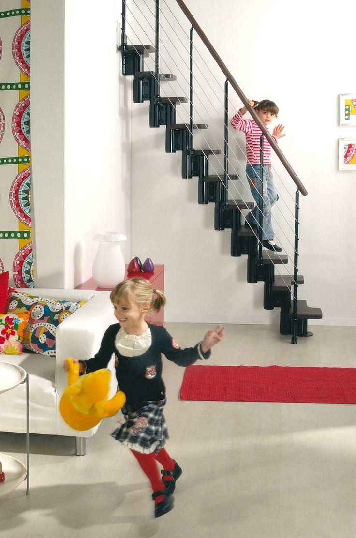KYA Space saver staircase > Space Saver loft stairs. (Black metal and dark wood)