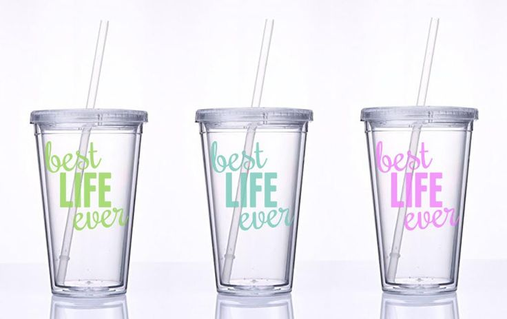Water Tumbler with Vinyl Best Life Ever / 16 oz Water Tumbler // Double Walled Clear Plastic with Screw on Lid and Straw // Beach Tumbler / by JoyandTren on Etsy https://www.etsy.com/listing/245428971/water-tumbler-with-vinyl-best-life-ever