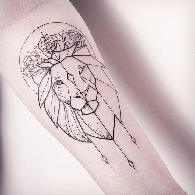Subtle Minimalistic Line Tattoos By Melina Wendlandt Geometric Animal Tattoo Geometric Lion Tattoo Geometric Tattoo