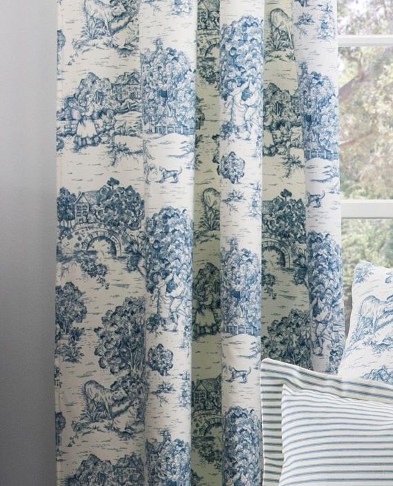 Blue And White Toile Curtains French Country D