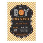 Basketball Baby Shower Invitation Orange Chevron