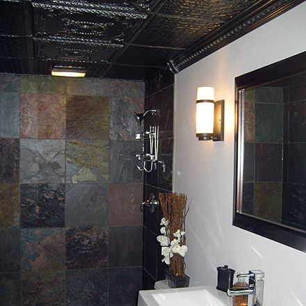 Ceilumeu0027s U0027Alexanderu0027 And U0027Continentalu0027 Ceiling Tiles Were Installed In  This Modern Style Bathroom For An Ulta Sophisticated Feel.