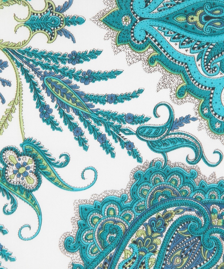 Lord Paisley, B, Liberty Fabric aqua turquoise teal