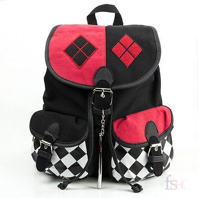 Harley Quinn Suicide Squad Cosplay Comics Knapsack School Bag Backpack Key chain