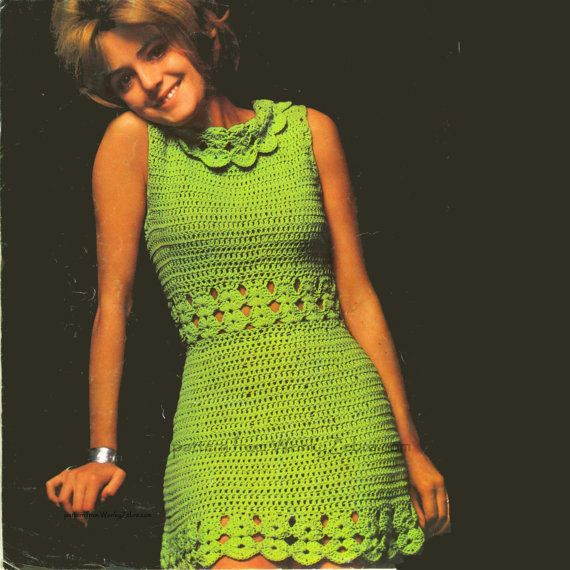 Patrón de vestido vintage Crochet diosa verde PDF 409 de