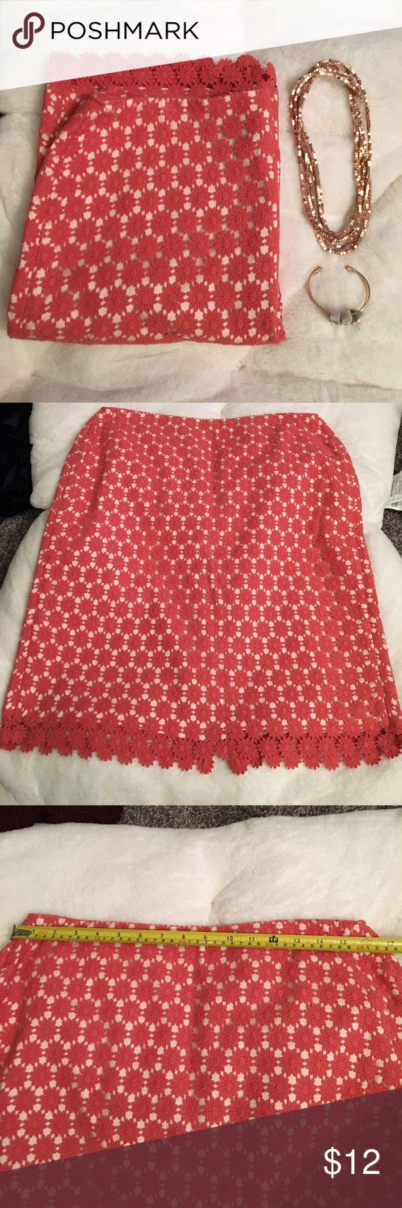 Talbots brand crochet skirt Talbots brand dress with crochet detailing around the skirt. Zip up closure up the back. 72% cotton, 28% lyocell Talbots Skirts