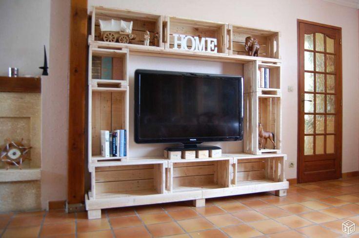 17 meilleures id es propos de meubles t l palettes sur pinterest mtand de meubles pour la. Black Bedroom Furniture Sets. Home Design Ideas