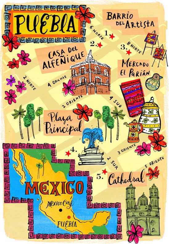 Puebla, México. Ilustrated map