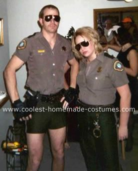 Homemade Lt. Dangle and Deputy Johnson Costumes: My fiance  and I were planning these costumes for months back in the summer of 2006, before all of the Reno 911 costumes were available to buy.   We happen