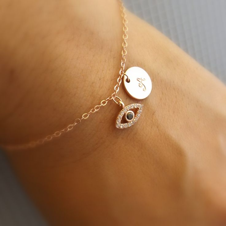 Rose gold evil eye bracelet-Initial and evil eye bracelet, rose gold old plated evil eye jewelry, initial bracelet, bridesmaid gift