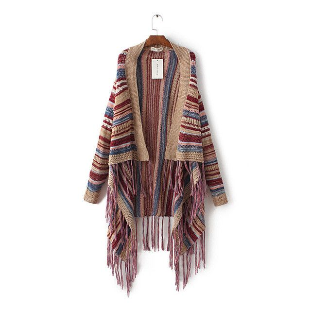 Hot Sale 2017 folk-custom style loose causal ladies tassel sweater irregular shawl cardigan colorful stripe wool sweater