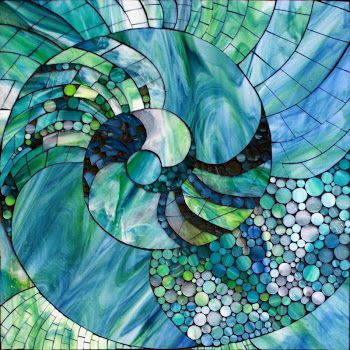 """Nautic Spiral"" stained glass mosaic, 18"" x 18"" by Kasia Polkowska"