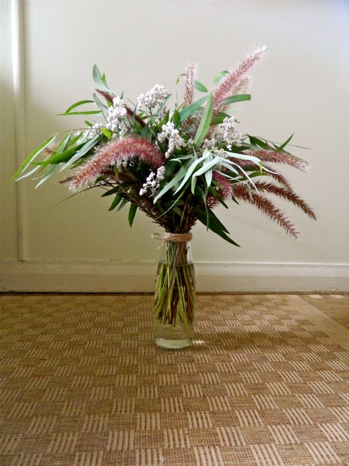 fountain grass, smokebush and eucalypt all hand-picked from Seraphine's garden!