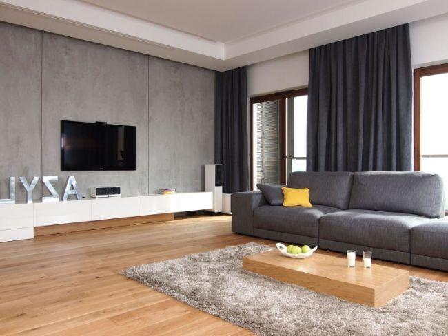 Spectacular Schoene einrichtungsideen wohnzimmer fernseher betonwand grau holzboden couchtisch