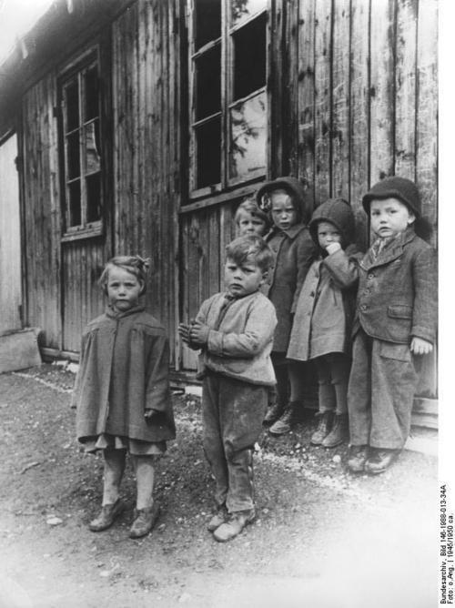 German refugee children in a West German camp, 1945.