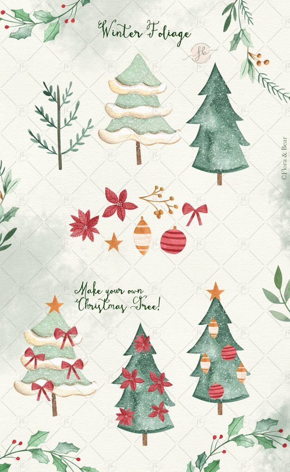 Christmas Clipart Winter Holidays Watercolor Clipart Santa Claus
