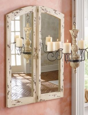 Imagine how spectacular this antiqued Cathedral Mirror will be over your mantel or above your bathroom vanity. This vintage style is so versatile—it blends well with traditional and contemporary decor.