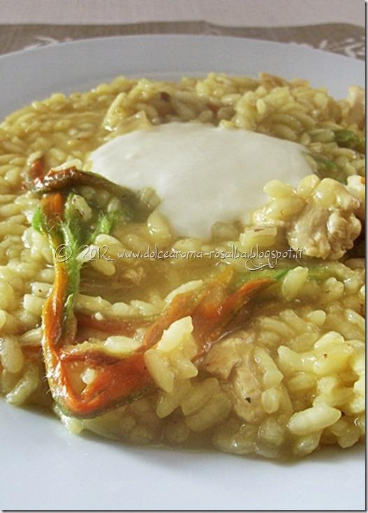 Risotto al pollo e fiori di zucca con fonduta di tuma (Chicken risotto with zucchini flowers and cheese fondue)